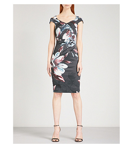 KAREN MILLEN Floral-patterned satin dress (Multi-coloured