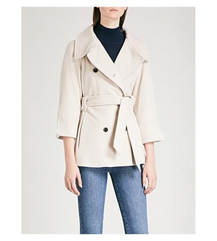 KAREN MILLEN Cape wool-blend coat (Cream