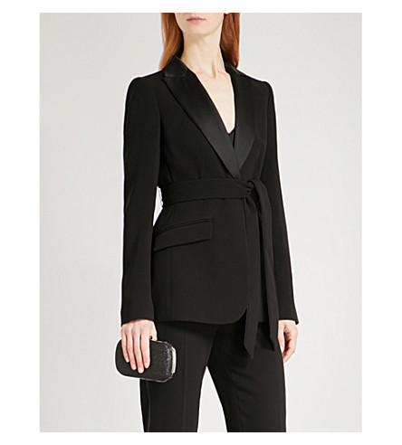 KAREN MILLEN Belted crepe jacket (Black