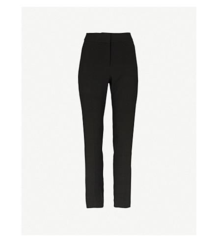 KAREN MILLEN Satin-stripe crepe trousers (Black