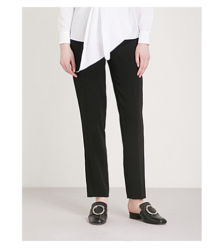 KAREN MILLEN Satin-stripe crepe trousers (Black