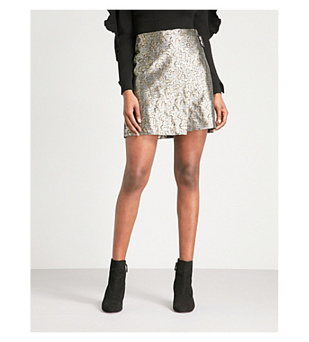KAREN MILLEN Metallic-jacquard high-rise wrap skirt (Gold