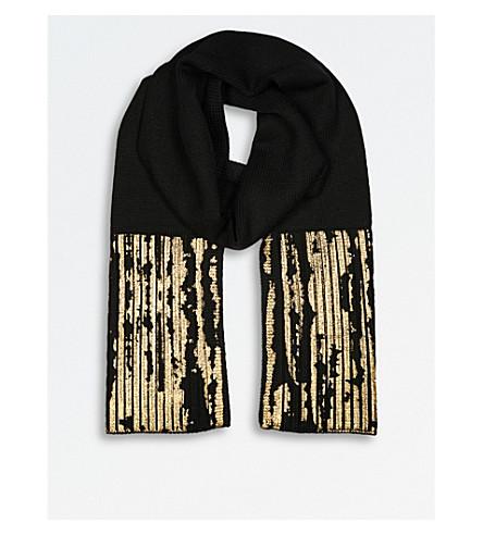 KAREN MILLEN Metallic-print chunky wool scarf (Black