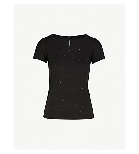 KAREN MILLEN Embellished jersey T-shirt (Black