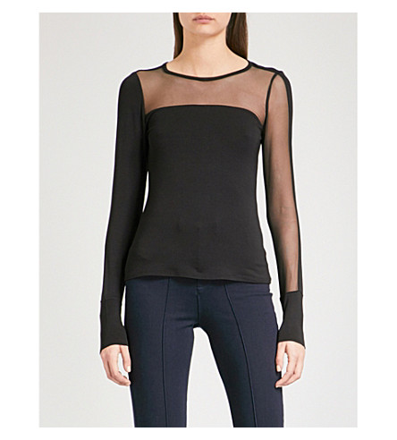 KAREN MILLEN Asymmetric mesh-panel stretch-jersey top (Black