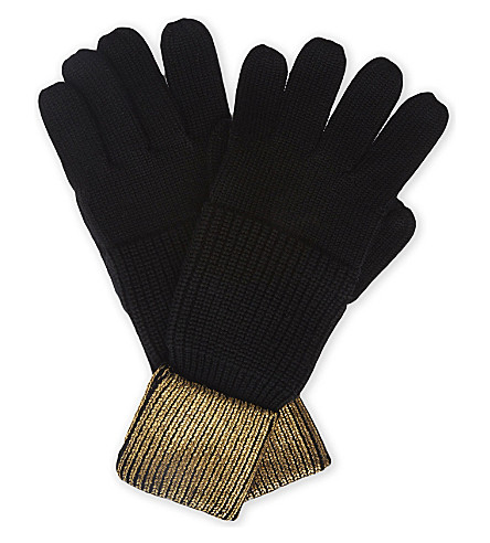 KAREN MILLEN Metallic knitted wool gloves (Black