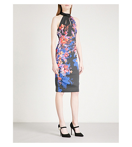 KAREN MILLEN Floral-patterned halterneck satin dress (Multi-coloured