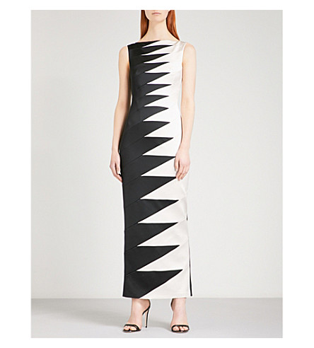 KAREN MILLEN Zigzag-patterned satin dress (Multi-coloured