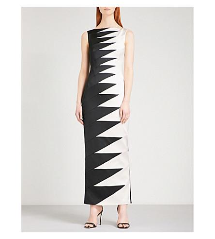 KAREN MILLEN Zigzag-patterned satin dress (Multi-coloured