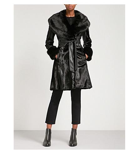KAREN MILLEN Faux-fur belted coat (Black