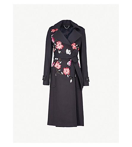 KAREN MILLEN Floral-embroidered wool-blend coat (Navy