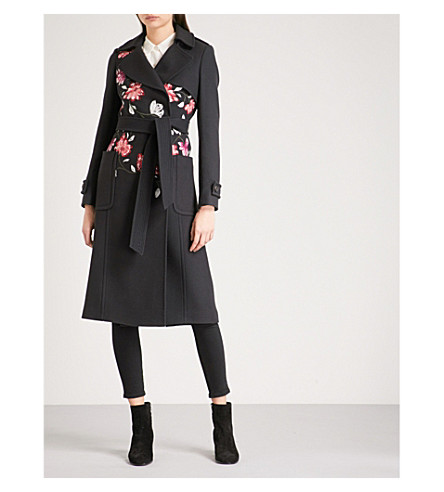 KAREN MILLEN Floral-embroidered wool-blend coat (Navy