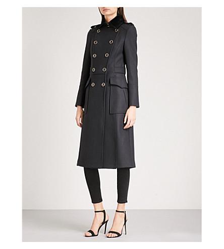 KAREN MILLEN Military wool-blend coat (Navy