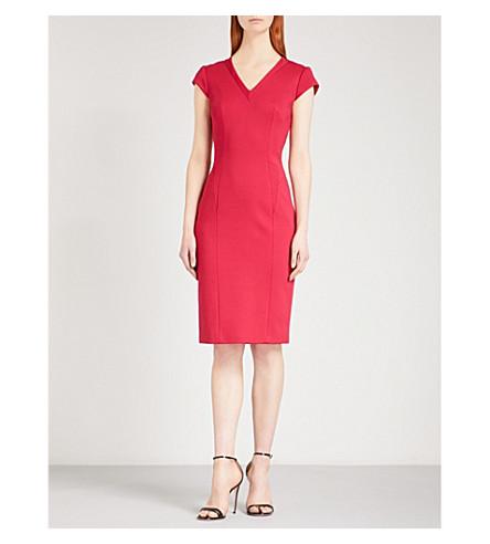 KAREN MILLEN V-neck capped-sleeve woven dress (Pink