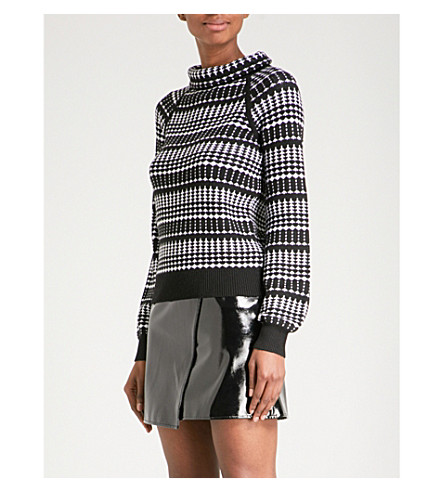 KAREN MILLEN Geometric-pattern knitted jumper (Multi-coloured