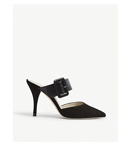 KAREN MILLEN Suede and leather mule sandals (Black