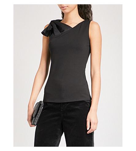 KAREN MILLEN Bow-embellished stretch-knit top (Black