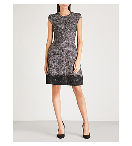 KAREN MILLEN Lace-trim tweed dress (Multi-coloured