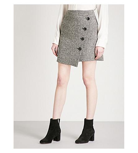 KAREN MILLEN Chevron tweed skirt (Multi-coloured