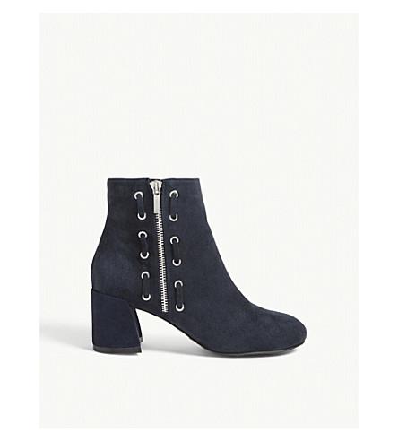 KAREN MILLEN Suede block heel ankle boots (Navy