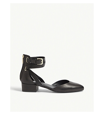 KAREN MILLEN Leather heeled ballet shoes (Black