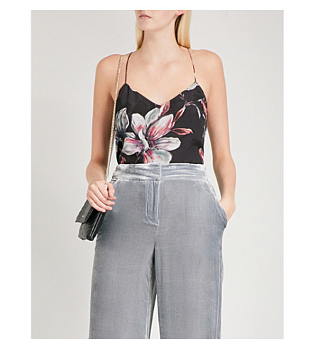 KAREN MILLEN Floral-print silk-crepe top (Grey