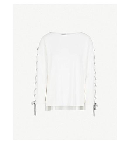 KAREN MILLEN Lace-detail knitted jumper (Cream