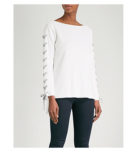 KAREN MILLEN Lace-detail knitted jumper (Cream