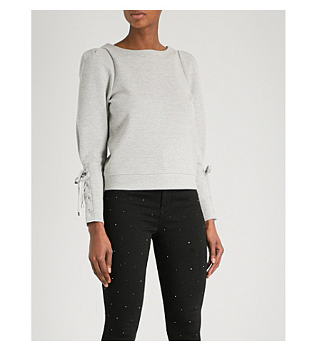 KAREN MILLEN Eyelet-detail cotton-blend sweatshirt (Grey