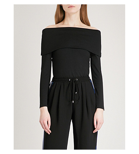 KAREN MILLEN Off-the-shoulder jersey top (Black