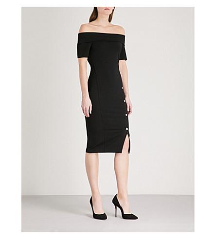 KAREN MILLEN Popper-side knitted dress (Black