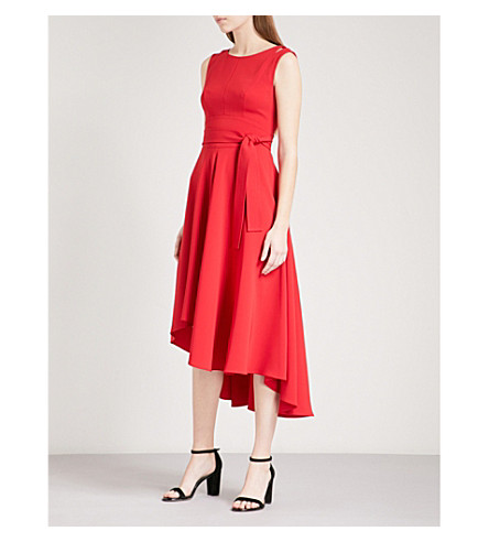 KAREN MILLEN Belted crepe midi dress (Red