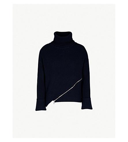 KAREN MILLEN Zip-detail turtekneck ribbed jumper (Navy