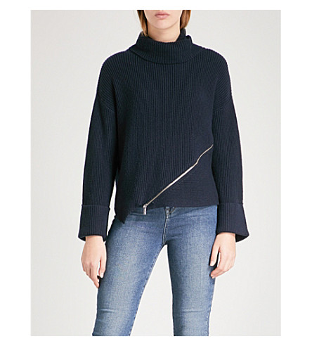 KAREN MILLEN Zip-detail turtekneck ribbed jumper (Navy