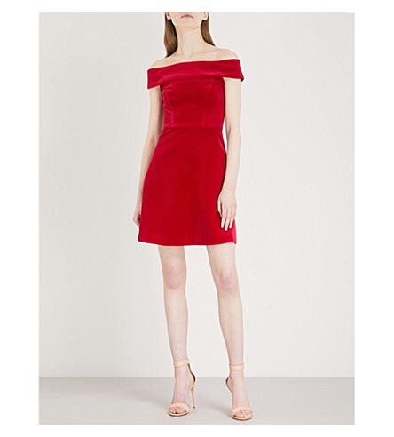 KAREN MILLEN Off-the-shoulder velvet dress (Pink