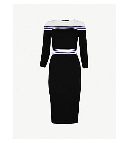 KAREN MILLEN Striped knitted midi dress (Multi-coloured
