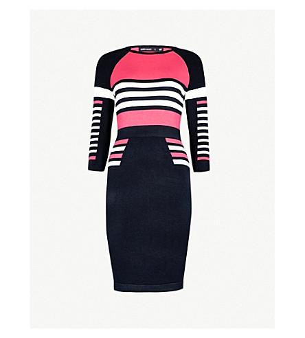 KAREN MILLEN Striped knitted pencil dress (Grey