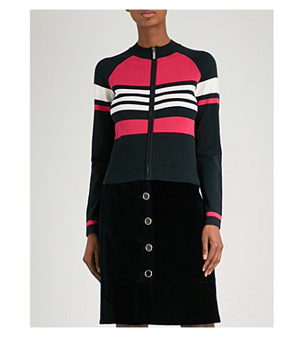 KAREN MILLEN Block-stripe zip-up knitted cardigan (Grey