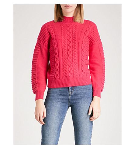 KAREN MILLEN Cable-knit wool-blend turtleneck jumper (Pink