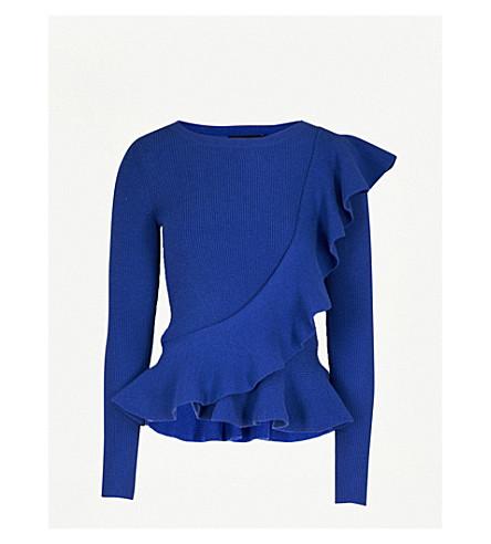 KAREN MILLEN Frill-detail knitted jumper (Blue
