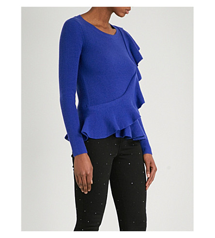 KAREN MILLEN Frill-detail knitted jumper (Blue