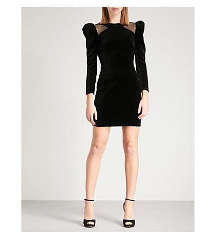 KAREN MILLEN Mesh-panel velvet mini dress (Black