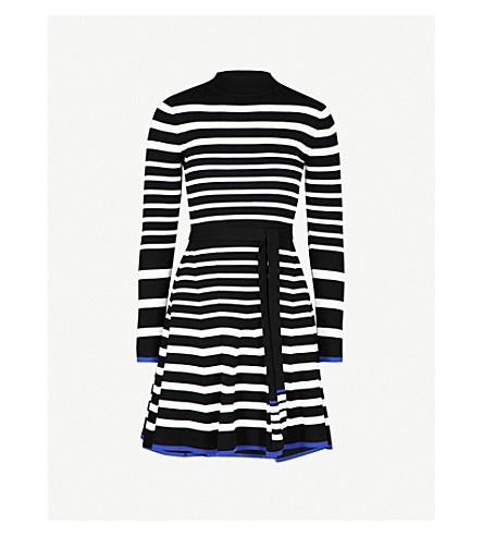 KAREN MILLEN Striped knitted mini dress (Grey