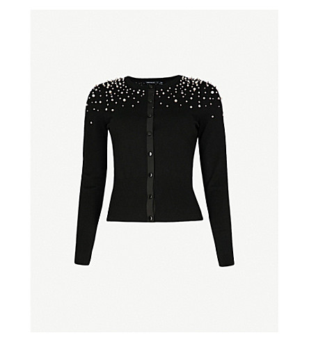KAREN MILLEN Scattered pearl knitted cardigan (Black