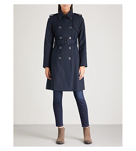 KAREN MILLEN Compact stretch-cotton trench coat (Navy