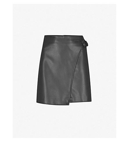 KAREN MILLEN High-rise faux-leather wrap skirt (Black