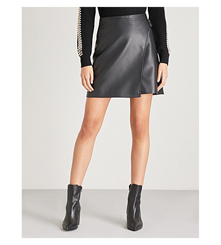 KAREN MILLEN High-rise faux-leather wrap skirt (Black