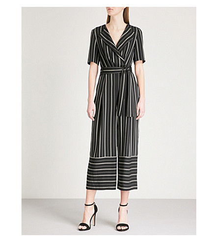 KAREN MILLEN Striped belted crepe jumpsuit (Multi-coloured