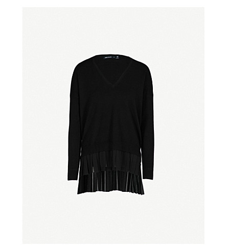 KAREN MILLEN Frill-detail V-neck knitted jumper (Black