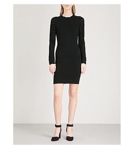 KAREN MILLEN Contrast-trim pointelle-knit mini dress (Black